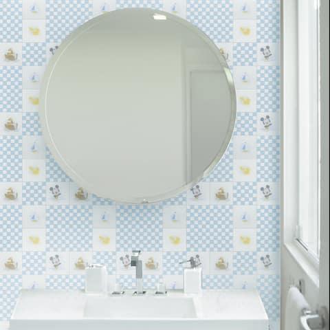 Disney 11.75x11.75-inch Baby Blue Glass Mosaic Wall Tile