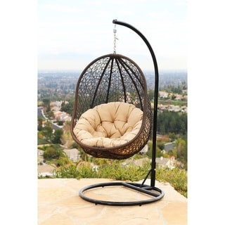 ABBYSON LIVING Milania Espresso Wicker Outdoor Swing Chair