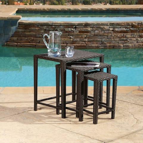 Abbyson Outdoor Renee 3-Piece Wicker Nesting Table Set, Brown