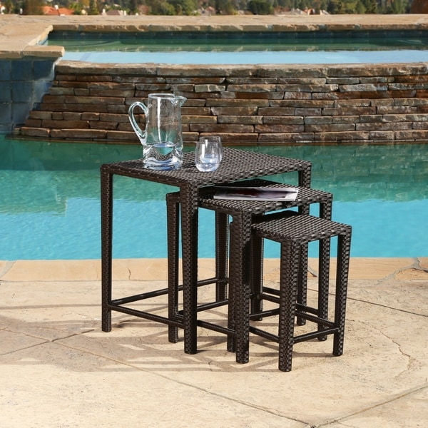 Outdoor Nesting Tables ~ Shop abbyson renee outdoor wicker nesting tables on sale