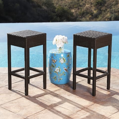 Abbyson Cailen Outdoor Wicker Bar Stools (Set of 2)