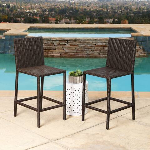 Abbyson Cailen Outdoor Wicker Bar Stools (Set 2)