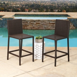 ABBYSON LIVING Cailen Wicker Outdoor Bar Stools With Cushions (Set of 2)