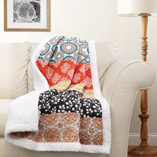 Lush Decor Bohemian Stripe Sherpa Throw