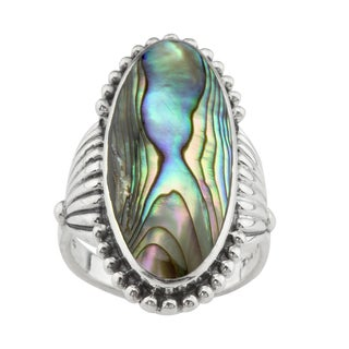 Elongated Natural Abalone Ring