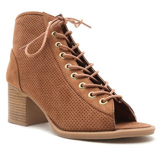 Qupid Women's Dixie-01 Tan Faux Leather Bootie