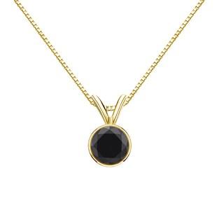 Auriya 14k Gold 1/2ct TDW Round-Cut Black Diamond Bezel Solitaire Necklace