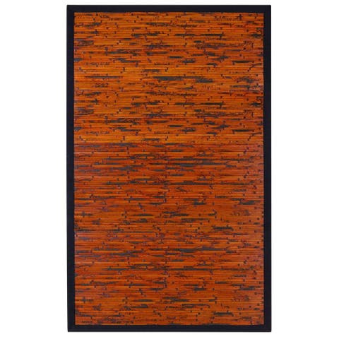 Jani Apyan Mahogany Bamboo Rug with Black Border - 2' x 3'
