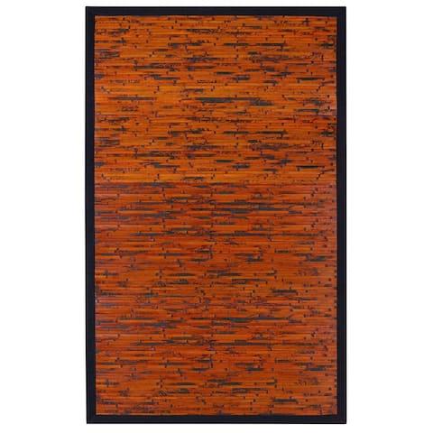 Jani Apyan Mahogany Bamboo Rug with Black Border - 2' x 3'