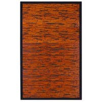 Jani Apyan Mahogany Bamboo Rug with Black Border (2' x 3')