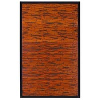 Jani Apyan Mahogany Bamboo Rug with Black Border