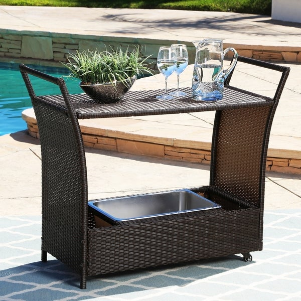 Abbyson Charlene Outdoor Wicker Bar Cart