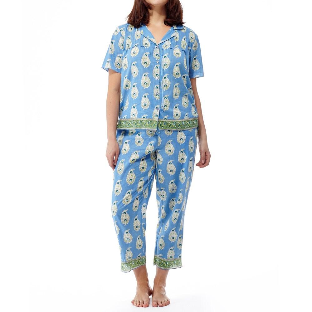 La Cera Womens Blue Cotton Print Short Sleeve Front Ribbon Pajama Set