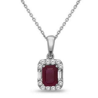 14k White Gold 1.15ct Ruby and 0.35ct Diamond Pendant Necklace