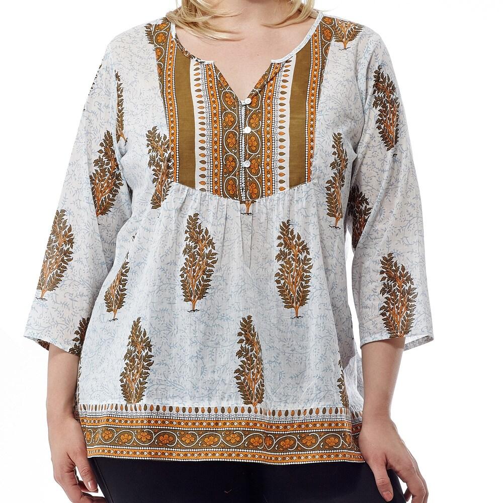 La Cera Womens Printed 3/4 Sleeve Blue Cotton V-neck Yoke Tunic Top