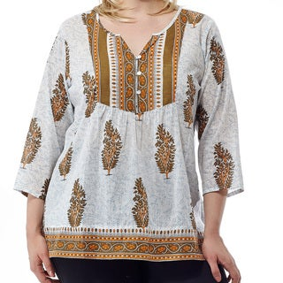 La Cera Women's Printed 3/4 Sleeve Blue Cotton V-neck Yoke Tunic Top