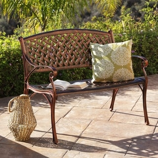 ABBYSON LIVING Nicola Copper Cast Aluminum Garden Bench