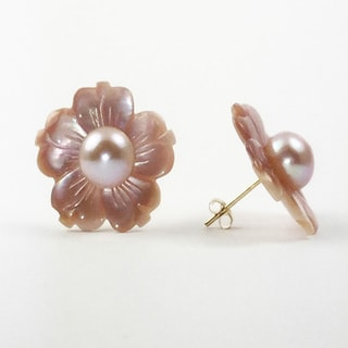 White Mother of Pearl and Freshwater Pearl Flower Stud Earings