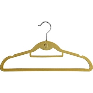 Beige Plastic Cascading Slim-line Hanger With Notches and Tie Bar