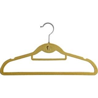 Tan Stackable Slimline Hanger, Cascading Ultra Thin Velvet Suit Hangers with Chrome Swivel Hook