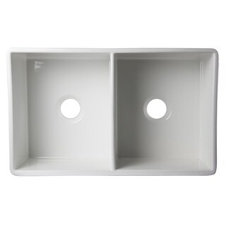 Alif White Fireclay 32-inch Decorative Lip Double Bowl Farmhouse Kitchen Sink