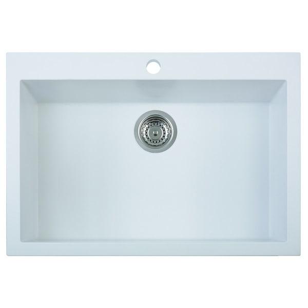 30 Inch Drop In Kitchen Sink alfi brand ab3020di-w white 30-inch drop-in single bowl granite