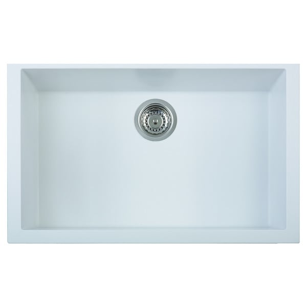 White Undermount Single Bowl Kitchen Sink