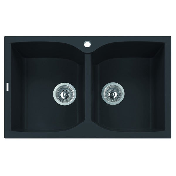 Shop Alfi Black 32 Inch Drop In Double Bowl Granite