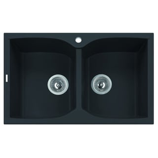 ALFI Black 32-inch Drop-In Double Bowl Granite Composite Kitchen Sink