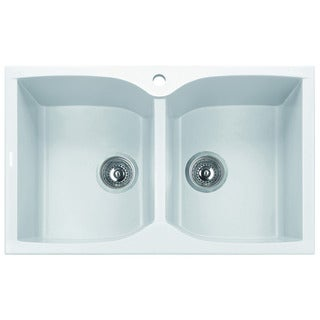 Alfi Brand White 32-inch Drop-in Double Bowl Granite Composite Kitchen Sink