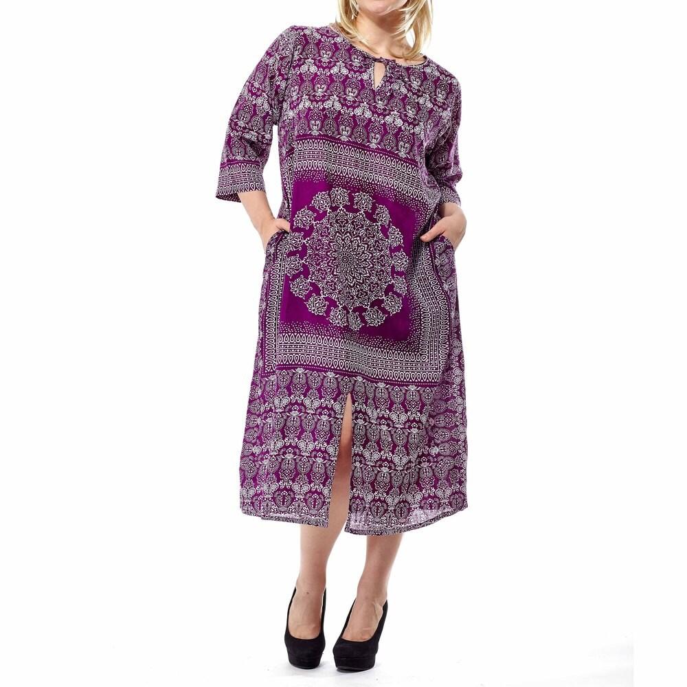 La Cera Womens Plus Size Long-sleeved Printed Beaded Caftan