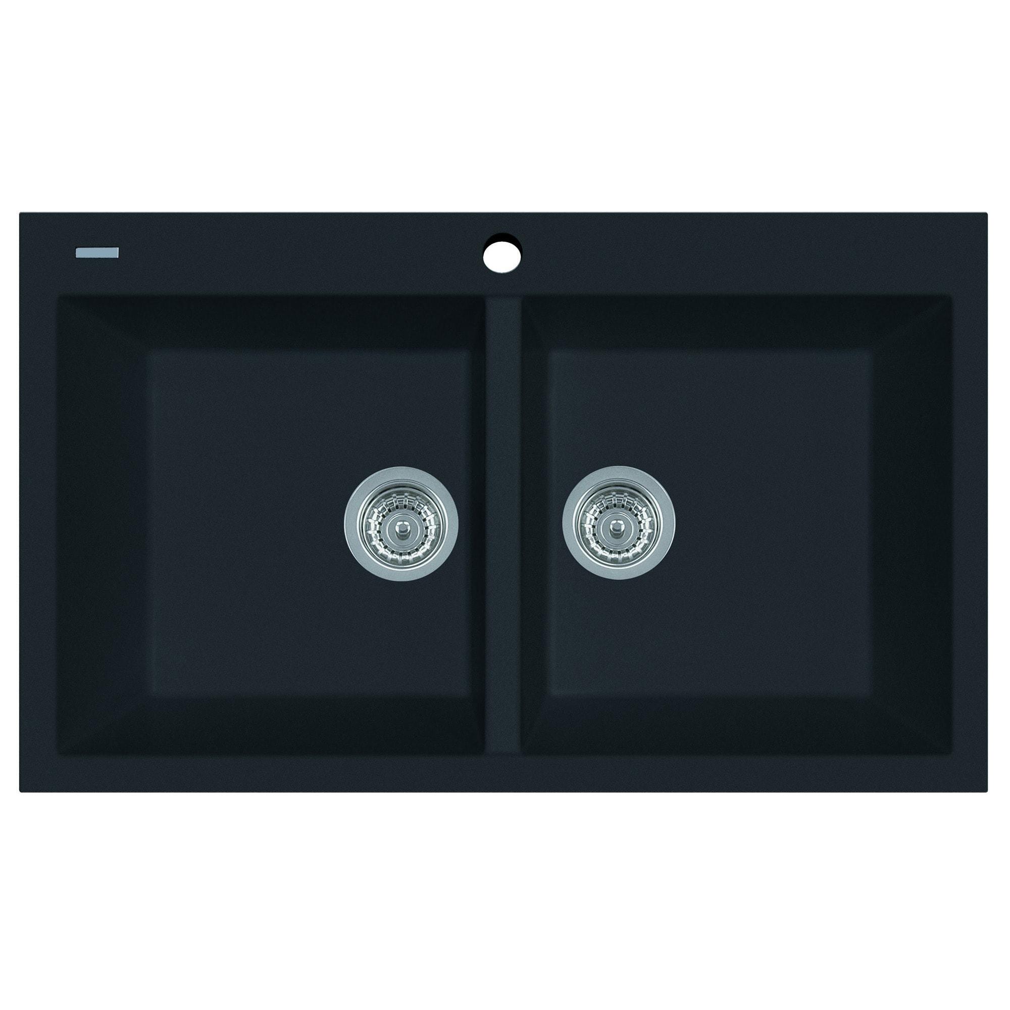 Alfi Black 34-inch Drop-in Double Bowl Granite Composite ...
