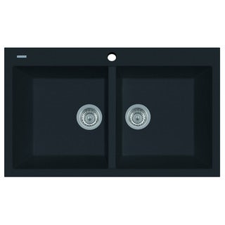 ALFI Black 34-inch Drop-in Double Bowl Granite Composite Kitchen Sink