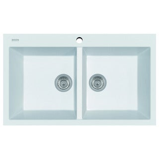 ALFI AB3420DI-W White Granite Composite 34-inch Drop-in Double Bowl Kitchen Sink