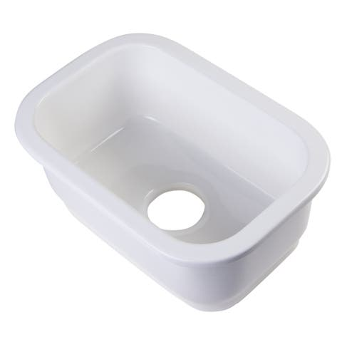 Alfi Fireclay Small Rectangle Undermount or Drop-in Prep/Bar Sink - White