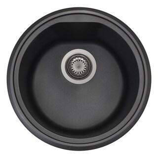 Link to Alfi Black Granite Composite 17-inch Drop-in Round Kitchen Prep Sink Similar Items in Living Room Furniture