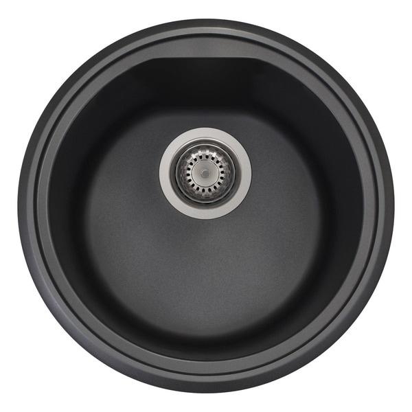 Shop Alfi Black Granite Composite 17-inch Drop-in Round Kitchen Prep ...