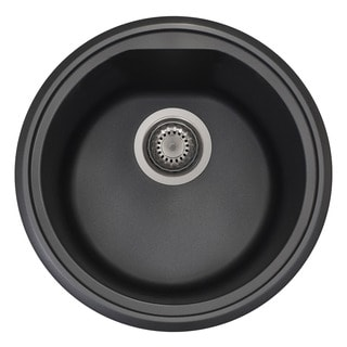 Alfi Black Granite Composite 17-inch Drop-in Round Kitchen Prep Sink