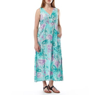 La Cera Women's Sleeveless V-neck Maxi Dress