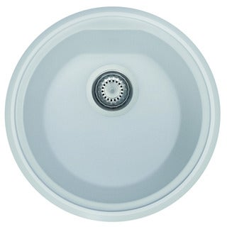 Alfi AB1717UM-W White Granite Composite 17-inch Undermount Round Kitchen Prep Sink