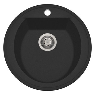 Alfi Black Granite Composite 20-inch Drop-in Round Kitchen Prep Sink