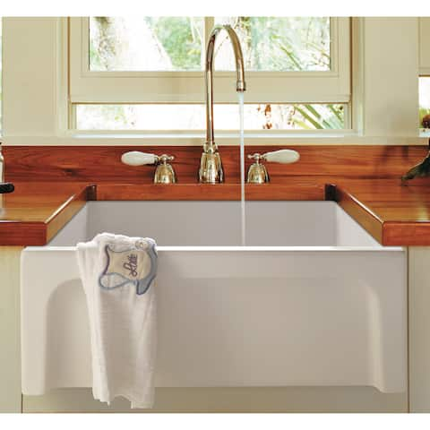 Alfi 24-inch White Fireclay Arched Apron Thick-wall Single-bowl Farm Sink