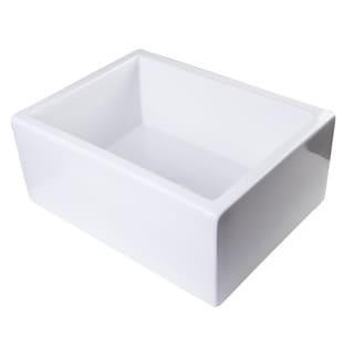 24-inch White Fireclay Thick-wall Single-bowl Kitchen Sink