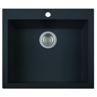 Alfi Black Granite Composite 24-inch Drop-in Single Bowl Kitchen Sink