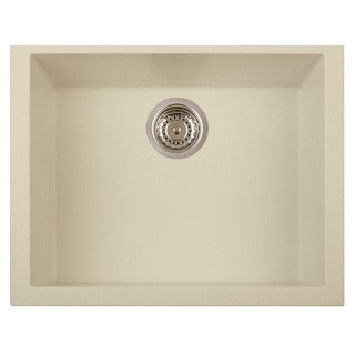 Alfi Biscuit Granite Composite 24-inch Undermount Single Bowl Kitchen Sink