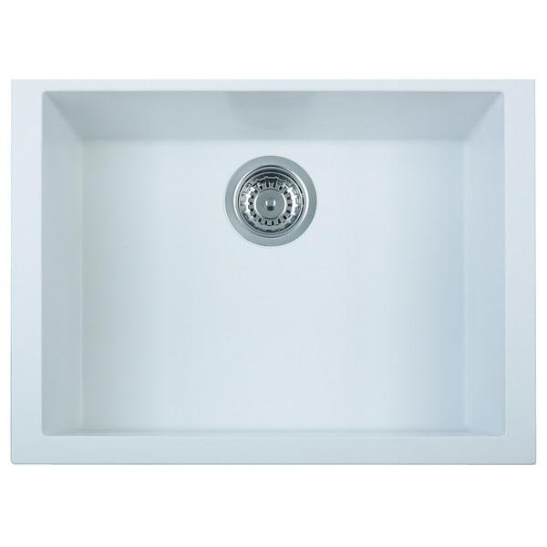 Merveilleux Alfi White Granite Composite 24 Inch Undermount Single Bowl Kitchen Sink