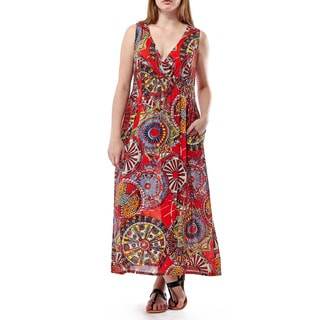 La Cera Women's Red Rayon Sleeveless V-neck Maxi Dress