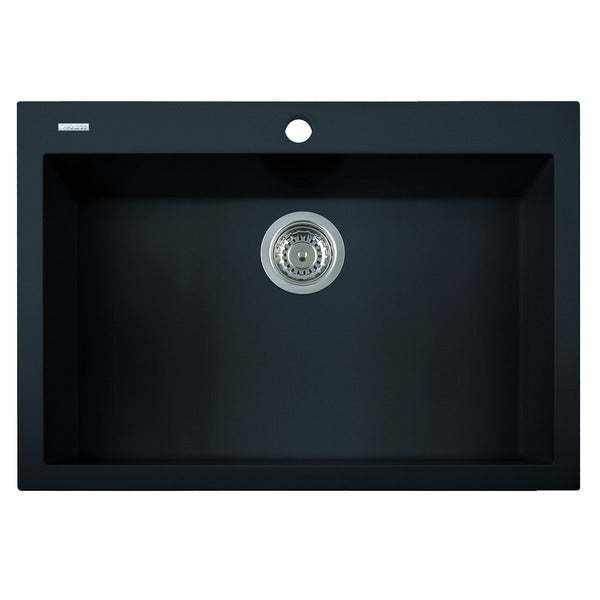 Alfi Black Granite Composite 30-inch Drop-in Single Bowl Kitchen Sink ...