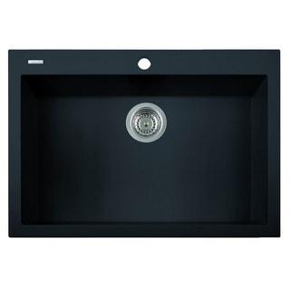 Alfi Black Granite Composite 30-inch Drop-in Single Bowl Kitchen Sink