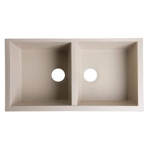 ALFI AB3420UM-B Granite Composite 34-inch Undermount Double Bowl Kitchen Sink - Biscuit